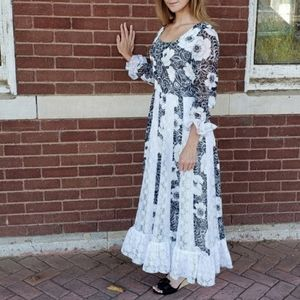 Vintage 70's Black & White Floral Maxi Dress